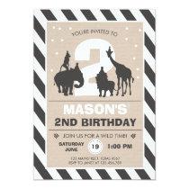 Safari Birthday Invitation Zoo Wild Jungle animals
