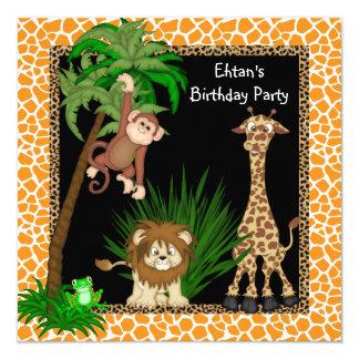 Safari Birthday Party 5.25x5.25 Square Paper Invitation Card