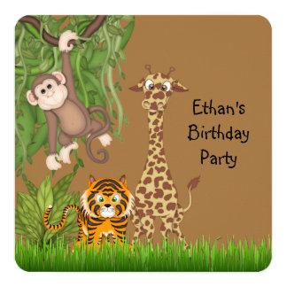 """Safari Birthday Party 5.25"""" Square Invitation Card"""