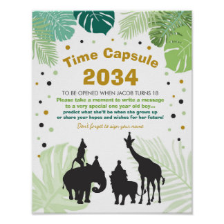 Safari Birthday Time Capsule Zoo boy Jungle party Poster