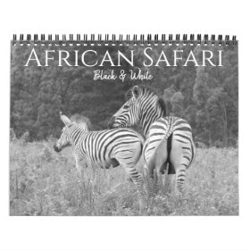 safari black & white 2021 calendar