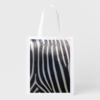 Safari blanco y negro de la raya de la cebra bolsas reutilizables