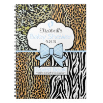 Safari Blue Baby Shower Guest Book- Notebook