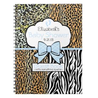 Safari Blue Baby Shower Guest Book- Spiral Notebook