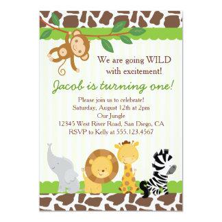 "Safari Boy 1st Birthday Party Invitation 5"" X 7"" Invitation Card"