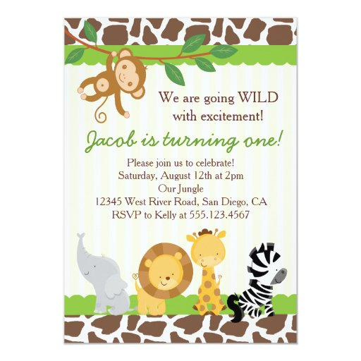 Safari Boy 1st Birthday Party Invitation (front side)