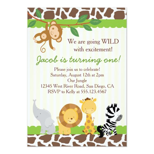 safari boy 1st birthday party invitation zazzle com