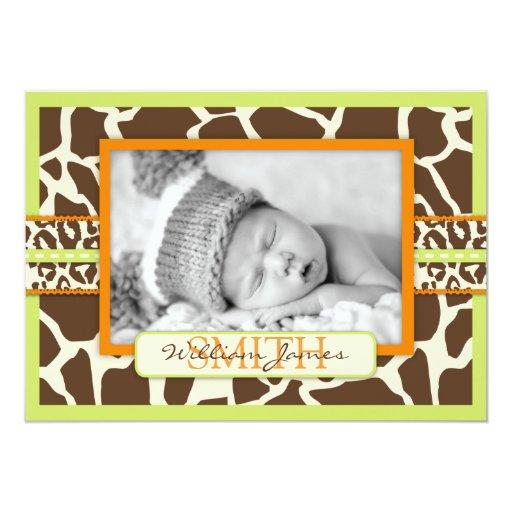 Safari Boy Green Announcement Card