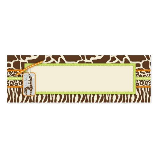 Safari Boy Green Skinny Gift Tag 2 Business Cards
