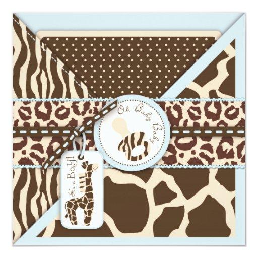 """Safari Boy Invitation Square_jms 5.25"""" Square Invitation Card"""