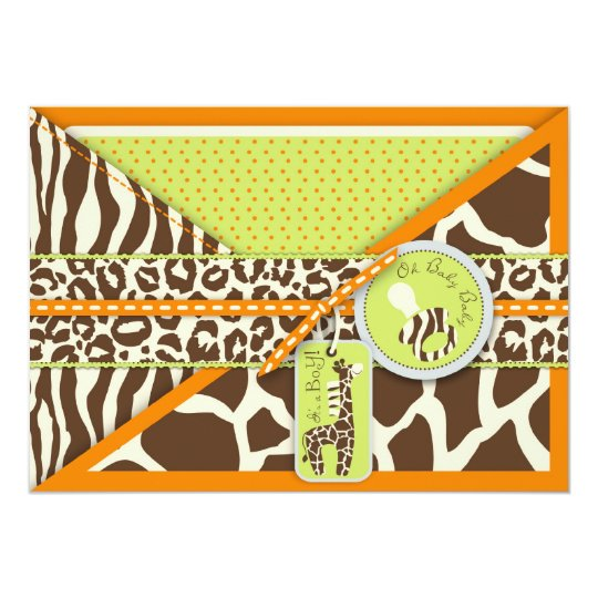 Safari Boy Orange Invitation Card 2