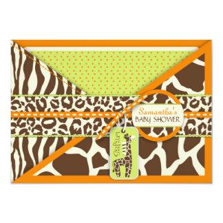 Safari Boy Orange Invitation Card 3