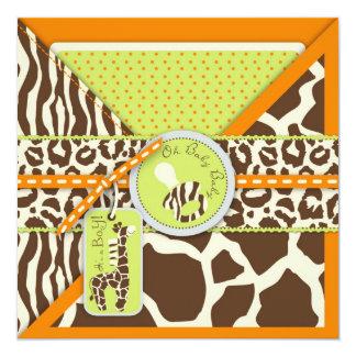 Safari Boy Orange Invitation Square