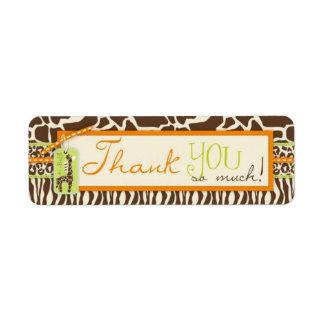 Safari Boy Orange TY Skinny Gift Label Return Address Label