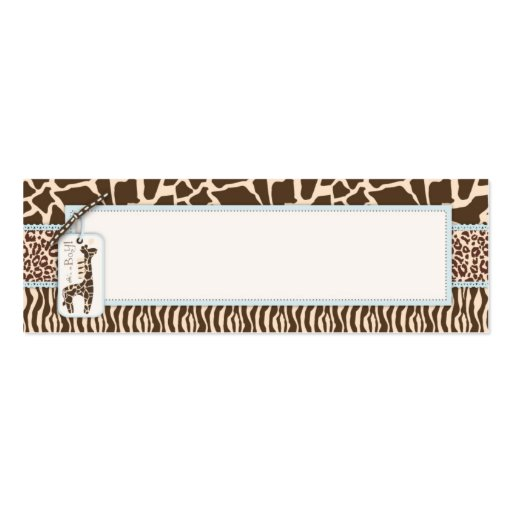 Safari Boy Skinny Gift Tag 2 Double-Sided Mini Business Cards (Pack Of 20)
