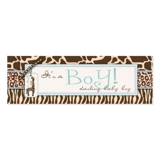 Safari Boy Skinny Gift Tag Double-Sided Mini Business Cards (Pack Of 20)