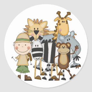 Safari Boy Tshirts and Gifts Classic Round Sticker