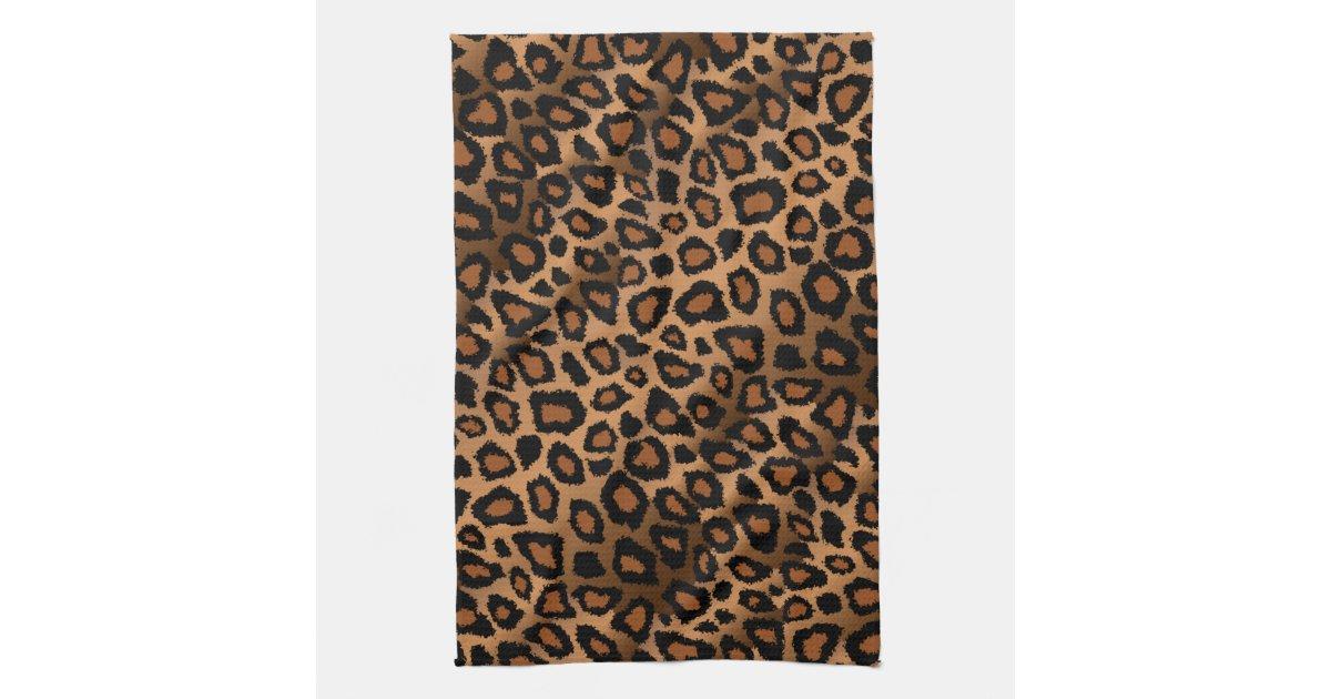 safari brown leopard animal print hand towels