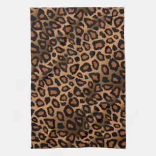 Safari Brown Leopard Animal Print Kitchen Towel at Zazzle