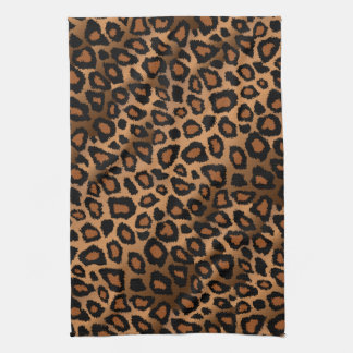 Safari Brown Leopard Animal Print Kitchen Towel