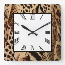 Safari Brown Square Wall Clock