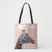Safari Cute Giraffe & Name Tote Bag