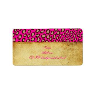 Safari de PixDezines rosa fuerte marrón + moreno Etiquetas De Dirección