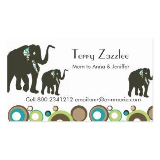 Safari del elefante de la mamá de la selva de la tarjetas de visita