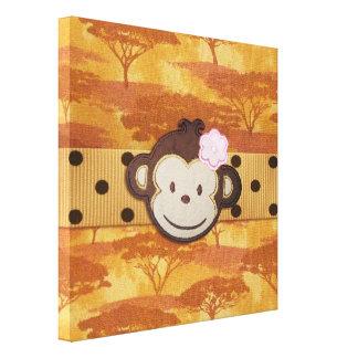 Safari del mono impresión en lona estirada