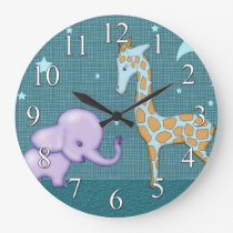 Safari Elephant and Giraffe Animals Kids Clock