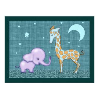 Safari Elephant and Giraffe Baby Shower Invite