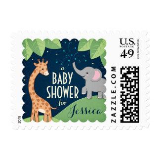 Safari Elephant & Giraffe Baby Shower Postage