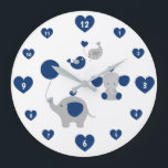 "Safari Elephant Navy Blue Gray Baby Boy Nursery Large Clock<br><div class=""desc"">Safari jungle elephant navy blue and gray baby boy nursery wall art clock with added hearts and birds. Select a size. Add matching wall art prints. Add matching wallpaper border on Etsy or Ebay. Copyright &#169; URBAN WILLOW &amp; LITTLE PUMPKINS PIX and Decamp Studios</div>"