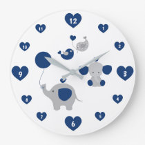 Safari Elephant Navy Blue Gray Baby Boy Nursery Large Clock