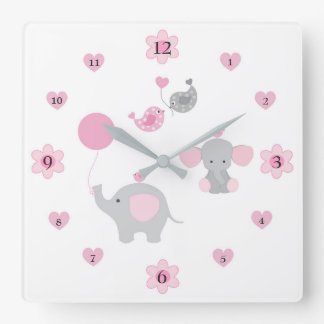 Safari Elephant Pink Grey Gray Baby Girl Nursery Square Wall Clock