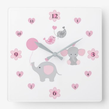 Toddler & Baby themed Safari Elephant Pink Grey Gray Baby Girl Nursery Square Wall Clock
