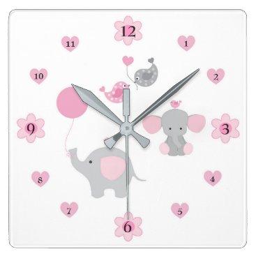 decampstudios Safari Elephant Pink Grey Gray Baby Girl Nursery Square Wall Clock