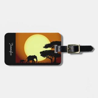 Safari elephants at sunset bag tag