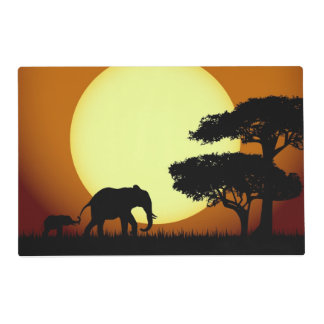 Safari elephants at sunset placemat