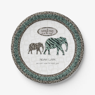 Safari Elephants Little Man Baby Boy Zebra Shower Paper Plate