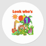 Safari First Birthday Classic Round Sticker