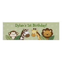 Safari Friends Jungle Animal Birthday Banner Sign Poster
