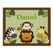Safari Friends Jungle Animal Wall Art Name Print