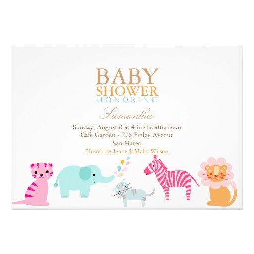 safari gender neutral baby shower invite 5 x 7 invitation card