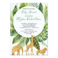 Safari gender neutral green gold baby shower invitation