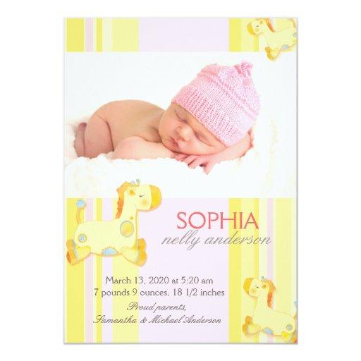 Safari Giraffe Baby Photo Birth Announcement