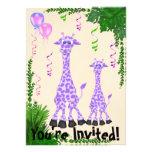 Safari Giraffe Baby Shower Invitation for Girls