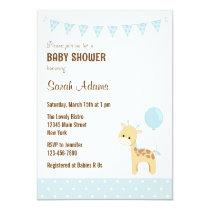 Safari Giraffe Baby Shower Invitation Pastel