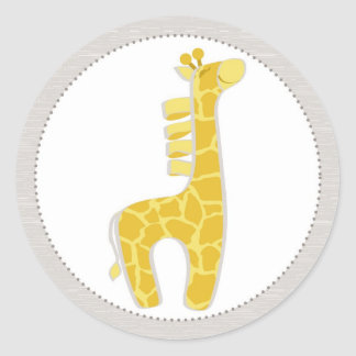 Safari Giraffe Baby Shower Classic Round Sticker