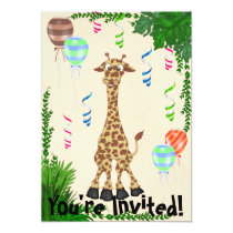 Safari Giraffe Birthday Party Invitation